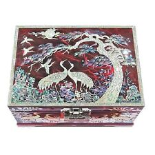 Melody Box Jewelry Ring Organizer Wood Mother of Pearl Inlay 2 Level Crane Red