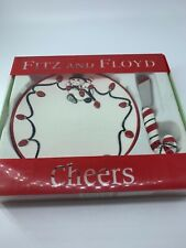 Fitz And Floyd 'Cheers' Snowman Cheese Plate With Candy Cane Spreader Nib