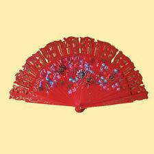 ღ BARAJA ROT ღ Flamenco Tanz- Fächer Handfächer Blumen Holzfächer Spanien