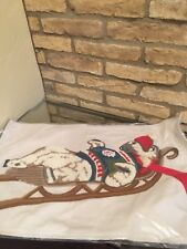 "Pottery barn polar bear appliqué Lumbar pillow cover 16"" X25"" Christmas holiday"