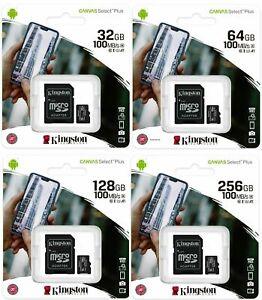 Kingston 32GB 64GB 128GB 256GB Class 10 Micro SDHC SDXC Memory Card & SD Adapter