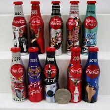 "*Set of 10 Miniature 3"" 2015 100th Anniversary Coca Cola Aluminum Bottles Mini"