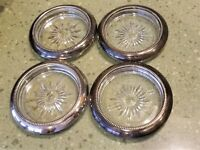 4 Vintage LEONARD SILVERPLATE & Crystal Starburst COASTERS Set