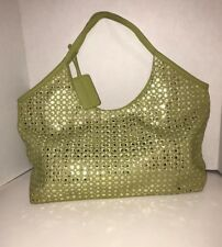 Nine West Tote Satchel Shoulder Bag Purse Lime Green Mirror Glitter Retro Style