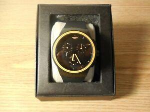 VINTAGE Swatch Orange/Black Chronograph Rubber Band Watch
