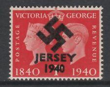 GB Jersey 3608 - 1940 Swastika Overprint forgey om genuine 1d Centenary u/m