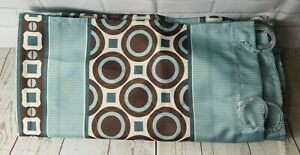 Mainstay Blue Grey Brown Striped Circle Square Fabric Shower Curtain + Rings L2
