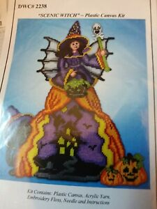Design Works Plastic Canvas Needlepoint Kits - Scenic Witch Halloween Holiday