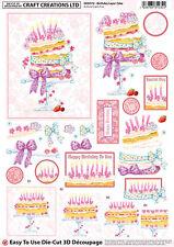 A4 CRAFT CREATIONS BEAUTIFUL DIE CUT DECOUPAGE - BIRTHDAY LAYER CAKE
