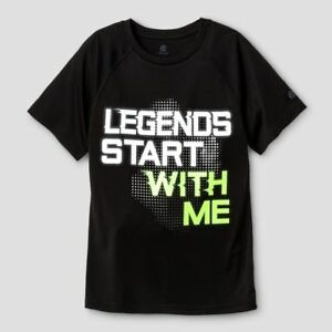 c9 Champion Boys Black Graphic Tech T-shirt LEGENDS START WITH ME