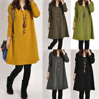 PLUS Women Long Sleeve Pockets Tunic Top Ladies Loose Pullover Blouse Dress c998