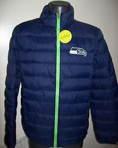 SEATTLE SEAHAWKS Puffer Pack It Jacket with Tote Bag XL 2X BLUE