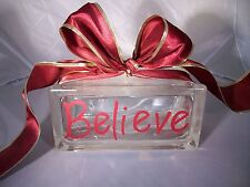 Believe Christmas Glass Block Gift Bow Holiday Decoration Brick