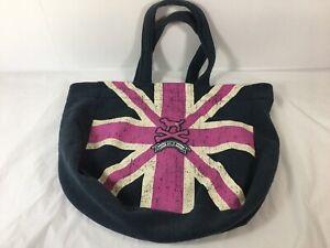 Victorias Secret VS Tote Pink Dog Shoulder Bag Britain British Flag Cotton Blend
