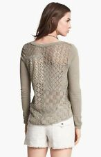 Free People LS V-neck Floral Patchwork Lace Back Henley Sheer Knit Top Cream L