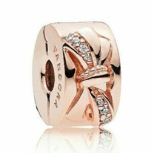 Authentic Pandora Charm Rose Gold Sparkling Bowtie CZ Clip 787304