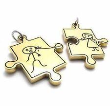 PAREJA Puzzle Niña Niño Acero inox. 2 COLGANTE PAREJA + 2 Cadenas