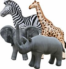 4 Inflatable Zebra Giraffe Elephant Rhino Animals Jungle Wild Safari Toys