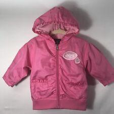 NFL Jets Jacket Baby Girls 12 Months Pink Ruffled Hooded Coat Windbreaker NEW