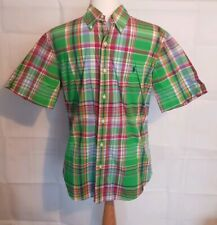 Ralph Lauren Polo green  Madras Check Short Sleeve Shirt M slim fit 36/38""