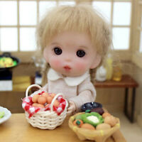 1:12 Miniature Eggs With Bamboo Basket Dollhouse Accessories For Kitchen  SJFA