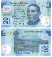 MEXICO 20 Pesos (2012) P-98r R Series V Prefix UNC POLYMER Banknote Paper Money