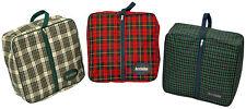 "ACCLAIM Tiree Ladies Red Navy Tartan Full Zip Square Bag Nylon Fabric 15"" x 5"""