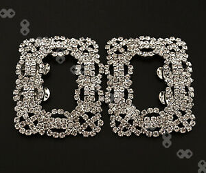 Pair of Rhinestone Crystal Wedding Bridal Tone Buckle Square Shoe Charm Clips