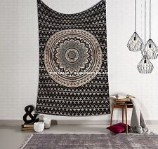 Gold Mandala Black Tapestry Indian Cotton Twin Wall Hanging Bedding Coverlet Art