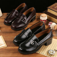 Women Uniform Shoes Flat Low Heel Cosplay Japanese School Student Leather Buckle