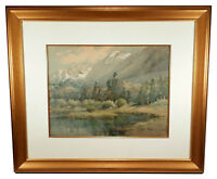 FRAMED HELEN BALFOUR EARLY CALIFORNIA ART WATERCOLOR PAINTING MOUNTAIN LANDSCAPE