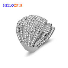 Exquisite Micro Paved Cubic Zirconia Big Wide Rings For Women White Gold Plated