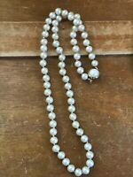 Vintage Long Ecru Colored Hand Knotted Faux Pearl Necklace w Goldtone Mabe Pearl