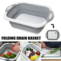 Multifunction Collapsible Cutting Board & Drain Basket Vegetable Basin Basket