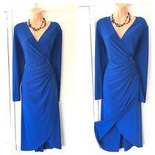 Joseph Ribkoff Blue Long Sleeve Wrap Effect Stretchy Dress Size 18