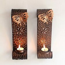 Wall Hanging Tealight Candle Holder Metal Wall Sconce Diwali Home Decor Set Of 2
