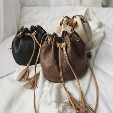 Women Straw Tassel Drawstring Bucket Woven Shoulder Bag Handbag Purse Beach Bag