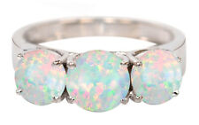 925 Sterling Silver 3.00Ct Round Shape Natural Australian Opal Solitaire Ring