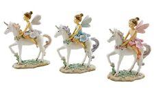 Fairy Princess on Unicorn Ornament Statue Figurine Sculpture Glitter Set/3 13 cm