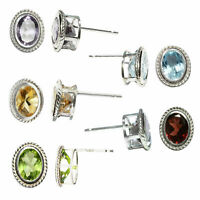 Amethyst Citrine Garnet Peridot Topaz Rope Earrings Studs 925 Sterling Silver
