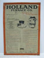 HOLLAND FURNACE Co Old Ad Sign Metal Operational Heating Plant Instructions