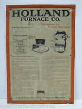 Old HOLLAND FURNACE Co Advertising Sign Metal Operational Heating Plant Instruct