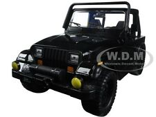 1992 JEEP WRANGLER BLACK 1/24 DIECAST MODEL CAR BY JADA 98083