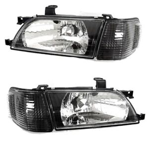 Fit For 97 99 Toyota Tercel JDM Black Crystal Headlights Lamps LH RH