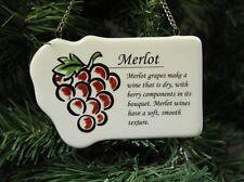 "Red Wine ""Merlot"" Christmas Ornament, Grapes"