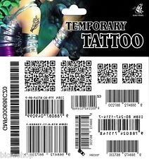 Tattoo 1 Bogen Strichcode Fake Tattoo einmal Tattoo, tatoo tatto barcode QR-Code