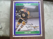 SIGNED BOBBY ORR 8x10 PHOTOGRAPH MOUNTED ON PLAQUE BOSTON BRUINS