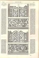 1862 fabbro ornamenti JF di Blondel GUARNIZIONI IN FERRO BATTUTO LESENA OPERA D'ARTE