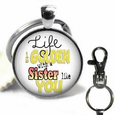 Life is Golden with a Sister Like You Pendant Key Chain Glass Top Gift