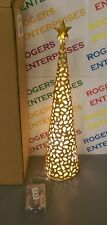 We R Christmas 45cm Prelit Gold Metal Conical Tree & Star w. 20 White LED Lights